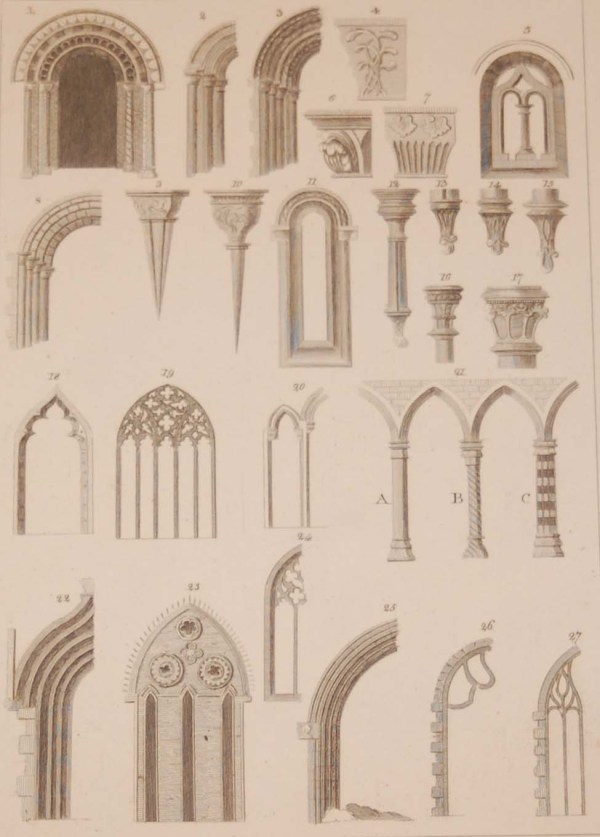 copper plate engraving from 1797 titled Irish Architecture and Ornaments, after original drawings by Francis Grose.