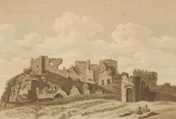 1797 antique print a copperplate engraving of the South West view of Dunamase Castle, County Laois, Ireland.