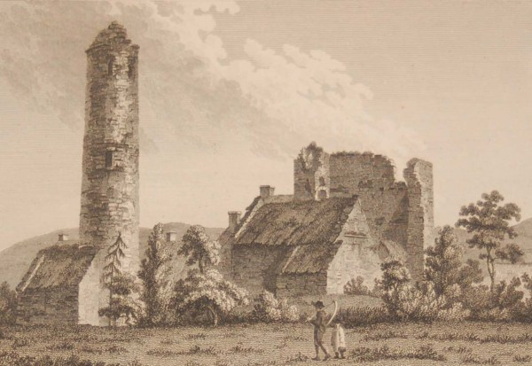 1797 antique print a copperplate engraving of the Round Tower and Castle Timahoe, County Laois, Ireland.