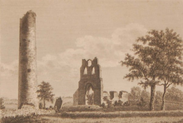 1797 antique print a copper plate engraving of Donoghmore Church and Round Tower in County Meath, Ireland.