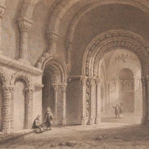 1841 Antique Steel engraving of Cormac's Chapel in County Tipperary. The print was engraved by E Challis and is after a drawing by William Bartlett.