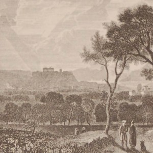 Antique print Greece, 1892 steel engraving of Athens from the East. The original drawing was by H W Williams and engraved by J Stewart.