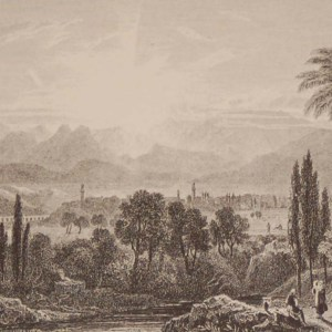 Antique print Greece, 1892 steel engraving of Thebes in Bceotia. The original drawing was by H W Williams and engraved by J Horsburgh.