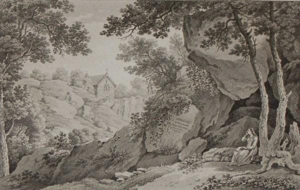 Aquatint from 1817 by the famous Austrian engraver Benedict Piringer, titled, Vue de la Grotte d'Heloise, dans le Bois de la Garenne á Clisson