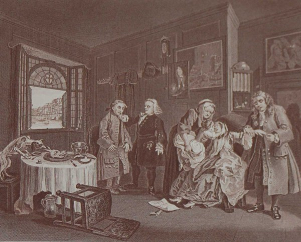 Antique print an engraving after William Hogarth. The engraving is titled Marriage a la Mode Death of the Countess