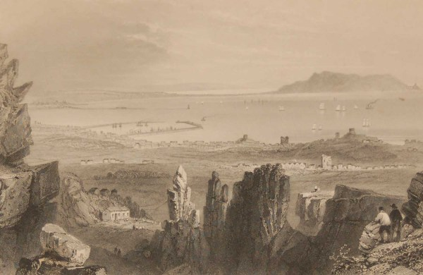 1841 Antique Steel engraving of Dublin Bay in Ireland. The print was engraved by J C Bentley and is after a drawing by William Bartlett.