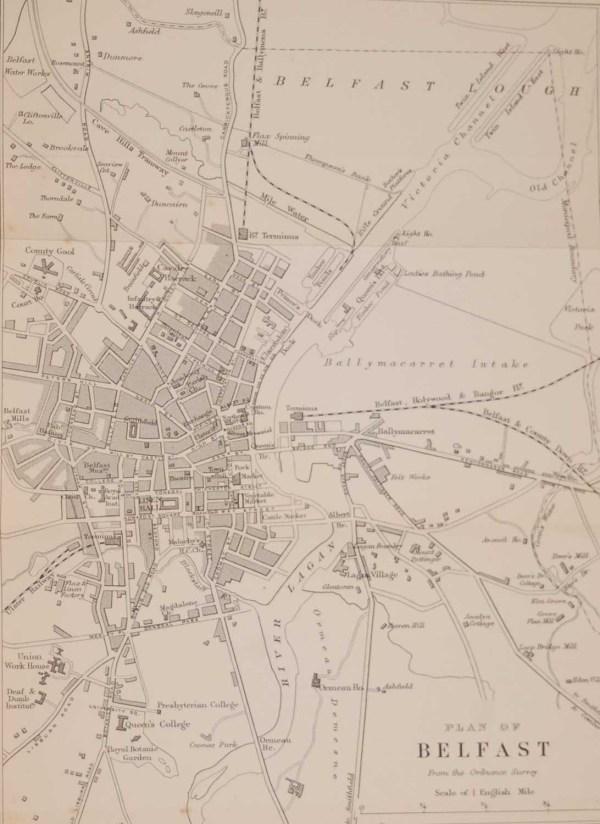 Antique plan of Belfast, printed in 1878, printed by John Murray in London.