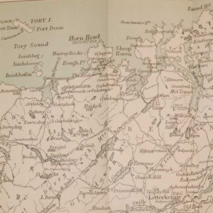 Antique Colour Map of North Donegal Ireland, printed in 1878, printed by John Murray in London.