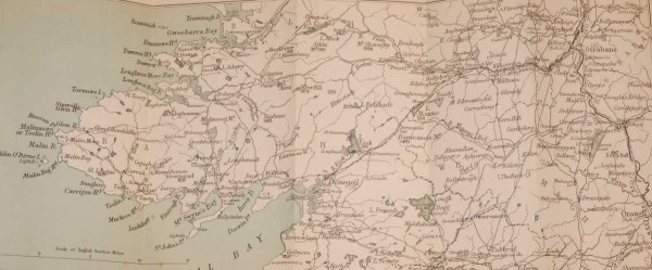 Antique Colour Map of South Donegal Ireland, printed in 1878, printed by John Murray in London.