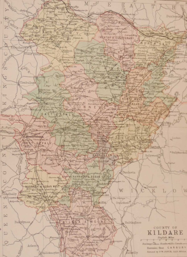 1881 Antique Colour Map of The County of Kildare printed by George Philips, with the map constructed by John Bartholomew and edited by P. W. Joyce.