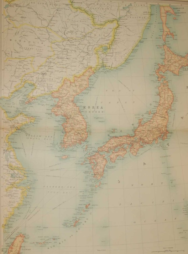 Large vintage world map from 1922 of the Japenses Empire.