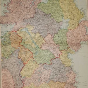 Large vintage colour map from 1930 of Ulster and North Leinster with Donegal referenced as Tirconall.