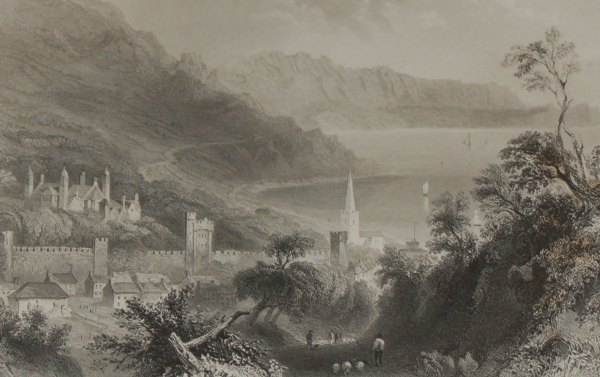 circa 1860 engraving by F W Topham after a painting by William Bartlett of Glenarm Castle in County Antrim