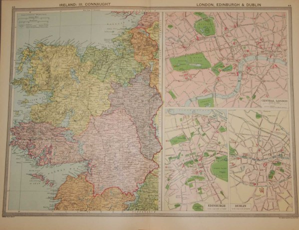 Large vintage colour map from 1930 of Connaught, in addition it also has town plans for Dublin, Central London and Edinburgh.
