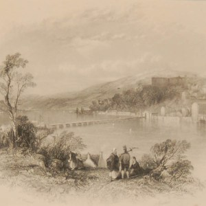 1838 Antique print a steel engraving titled Waterloo Bridge, Cork . Engraved by H Wallis and is after a drawing by Thomas Creswick.