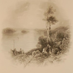 1850 antique print a steel engraving of Lower Lough Erne in County Fermanagh. The print was engraved by R Wallis and is after a drawing by T Creswick.