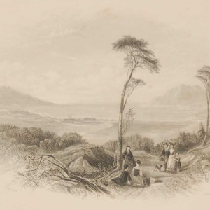 1850 antique print a steel engraving of Rosstrevor in County Down. The print was engraved by J Hinchcliffe and is after a drawing by Thomas Creswick.