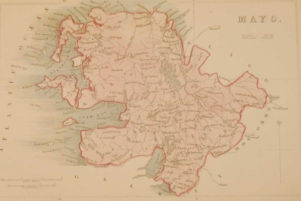 Antique colour Map of Mayo, the map was engraved by A Adlard and published by Hall and Virtue in London. These maps are referenced as being produced between 1846 and 1850.