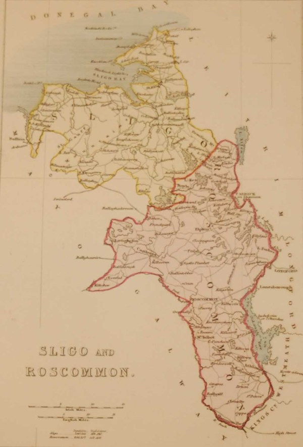 Antique colour Map of Sligo and Roscommon, the map was engraved by A Adlard and published by Hall and Virtue in London.