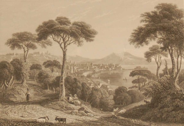 Bay of Naples with Mount Vesuvius, antique print, an engraving from circa 1880 after the original painting by George Arnald.