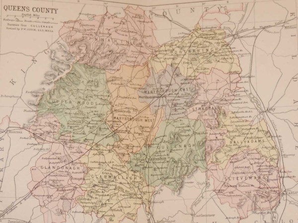 1881 Antique Colour Map of The County of Laois printed by George Philips, with the map constructed by John Bartholomew and edited by P. W. Joyce.
