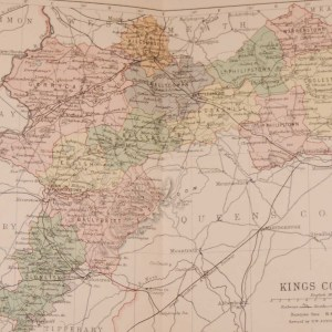 1881 Antique Colour Map of The County of Offaly printed by George Philips, with the map constructed by John Bartholomew and edited by P. W. Joyce.