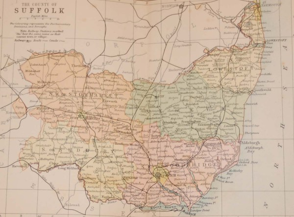Antique Victorian colour map of the County of Suffolk, printed in 1895, maps by George Philips based in London & Liverpool.