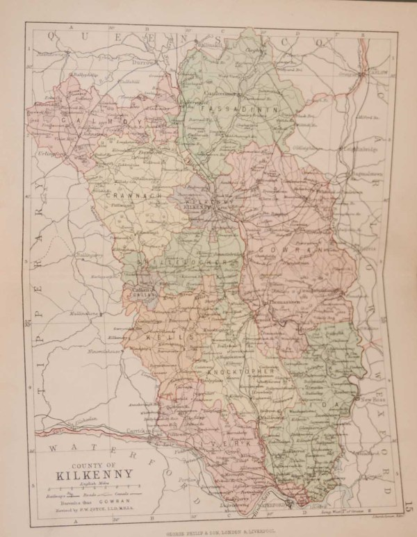 1881 Antique Colour Map of The County of Kilkenny printed by George Philips, with the map constructed by John Bartholomew and edited by P. W. Joyce.