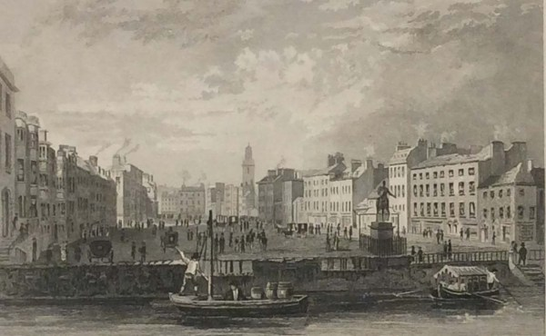 Antique print from 1832 of the Grand Parade, Cork, Ireland. The print was engraved by Henry Winkles and is after a drawing by William Bartlett.