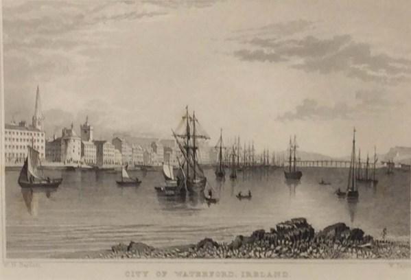 1832 antique print waterford city ireland