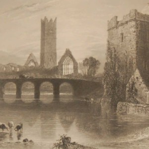 1850 antique print a steel engraving of the Abbey at Claregalway in County Galway. The print was engraved by J Cousen and is after a drawing by W H Bartlett.