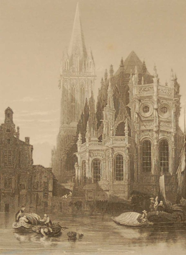 Caen Cathedral, antique print, Victorian, an engraving from circa 1880 after the original painting by David Roberts.
