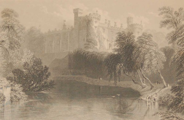 1841 Antique print a steel engraving of Kilkenny Castle, Kilkenny, Ireland . The print was engraved by J B Allen and is after a drawing by William Bartlett.
