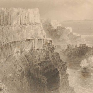 1841 Antique print a steel engraving of Plaisken Cliff near the Giants Causeway, County Antrim, Ireland . The print was engraved by J C Bentley and is after a drawing by William Bartlett.