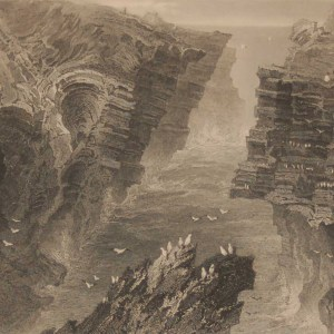 1841 Antique print a steel engraving of the Puffin Hole Kilkee, County Clare, Ireland . The print was engraved by F W Topham and is after a drawing by William Bartlett.