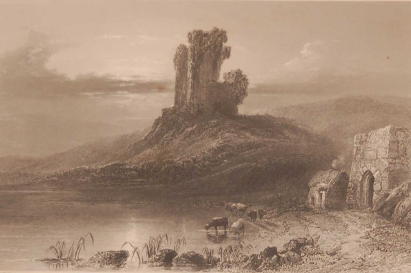 1841 Antique Steel engraving of the ruins of Kilcoman Castle in County Cork Ireland . The print was engraved by John Cousen and is after a drawing by William Bartlett.