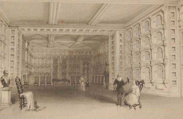1841 Antique Steel engraving Interior of a Room Malahide Castle . The print was engraved by E Challis and is after a drawing by William Bartlett.