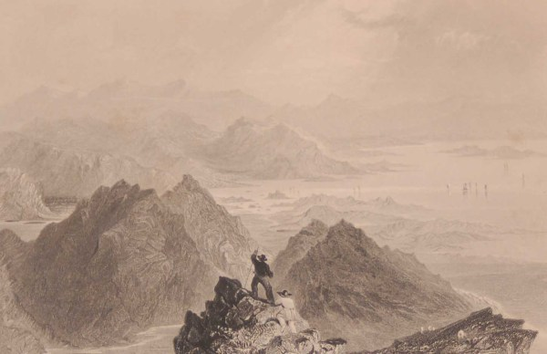 1841 Antique print a steel engraving of a Scene from Sugarloaf mountain Bantry Bay, Cork, Ireland . The print was engraved by J B Allen and is after a drawing by William Bartlett.