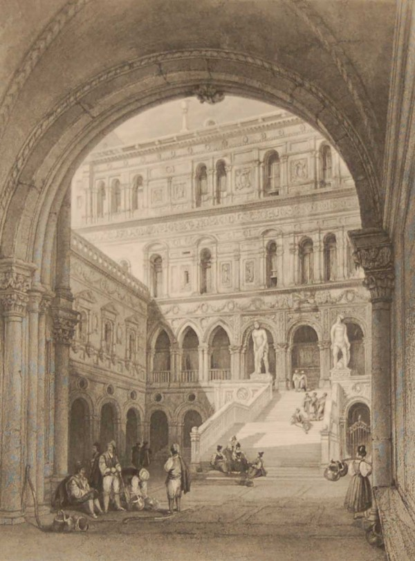 Antique print an engraving from 1844 of the Giants Stairs, Ducal Palace Venice. Engraved by T Turnbull and painted by W Leitch.