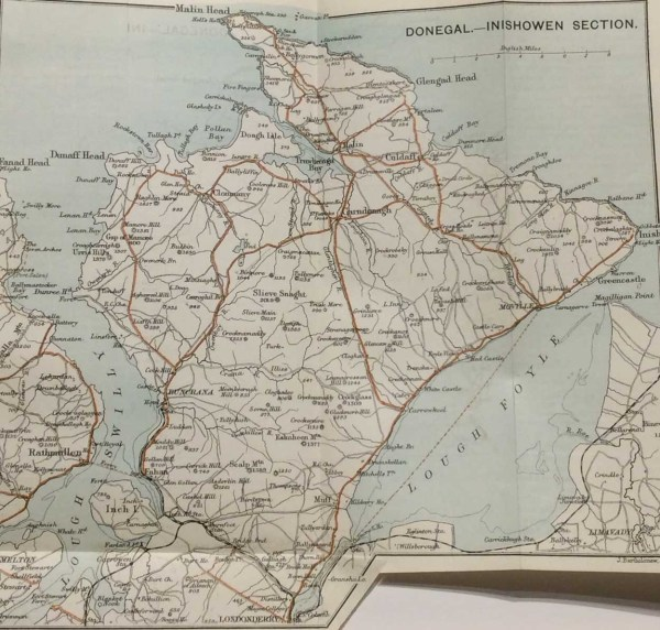 Antique map of Inishowen from 1887. The map was originally produced as part of a guide for visitors to Ireland.