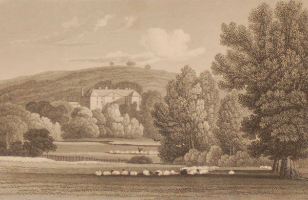 Oakley Park Shropshire, antique print, an engraving from the late Georgian period. The original drawing was done by J P Neale and it was engraved by W Bond.