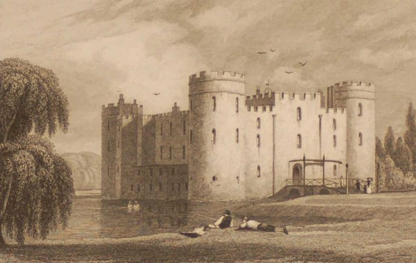 Sherbourn Castle Oxfordshire, antique print, an engraving from the late Georgian period. The original drawing by J P Neale and engraving by W Radclyffe.