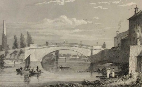 Sarah's Bridge on the River Anna Liffey 1832 Antique Print. The print was engraved by Edw Goodall and is after a drawing by George Pertrie.