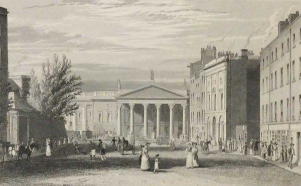 College Street Dublin, 1832 Antique Print. The print was engraved by B Winkles and is after a drawing by George Pertrie.