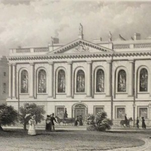 Antique print from 1832 of the College of Surgeons, Dublin, Ireland. The print was engraved by W Woolnoth and is after a drawing by William Bartlett.