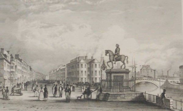 The Statue of George the Second South Mall, Cork, 1832 Antique Print. The print was engraved by Heath and is after a drawing by W H Bartlett.