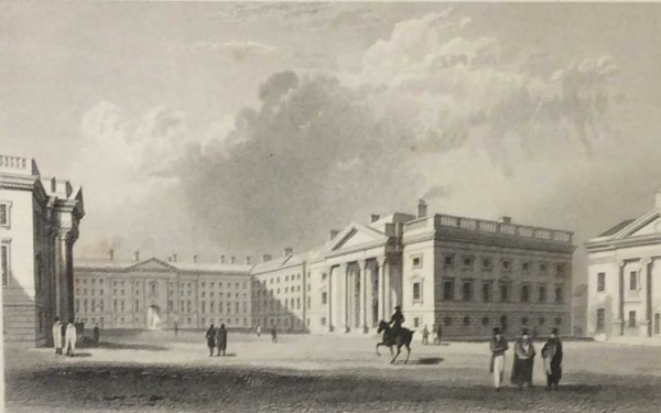 Antique print from 1832 of Parliament Square Trinity College in Dublin, Ireland. The print was engraved by J Davis and is after a drawing by William Bartlett.