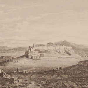 Antique print Greece, 1892 steel engraving of Athens from the hill of the museum.