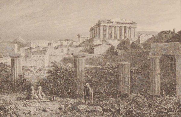 Antique print Greece, 1892 steel engraving of the Interior of the Acropolis of Athens, from the Propylea.