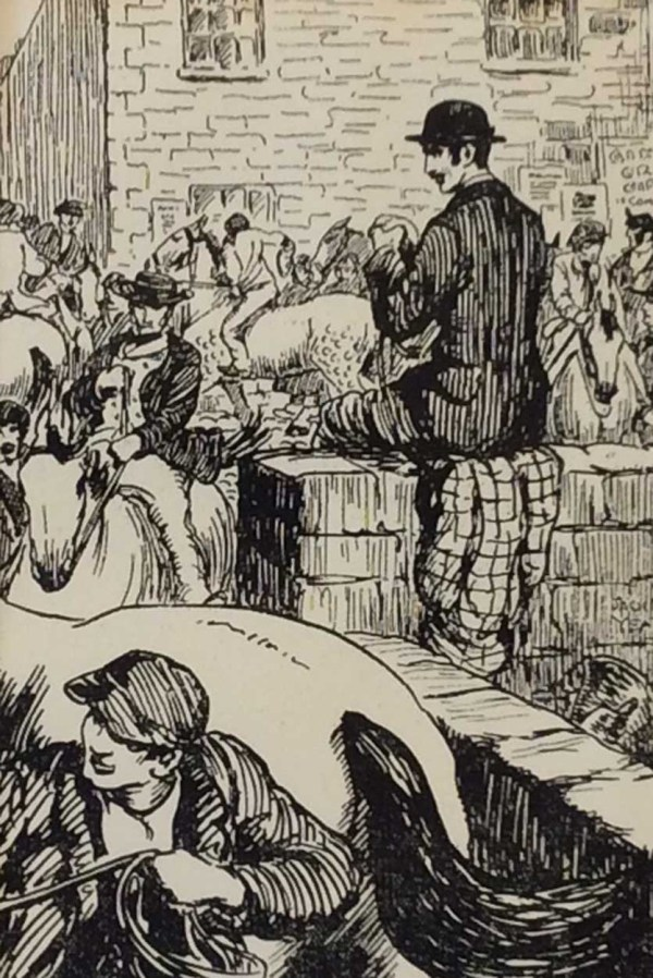 Antique print Jack B Yeats from 1912 titled Ballinasloe Horse Fair, after a set of drawings that Yeats did looking at life in the West of Ireland. Very rare.